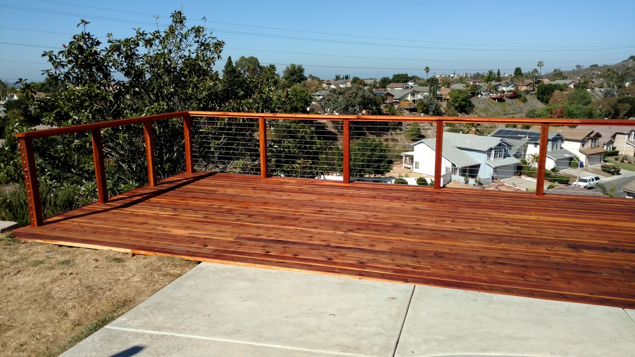 Redwood deck with cable rail 2 san diego decks custom deck redwood deck with cable rail 2 baanklon Image collections