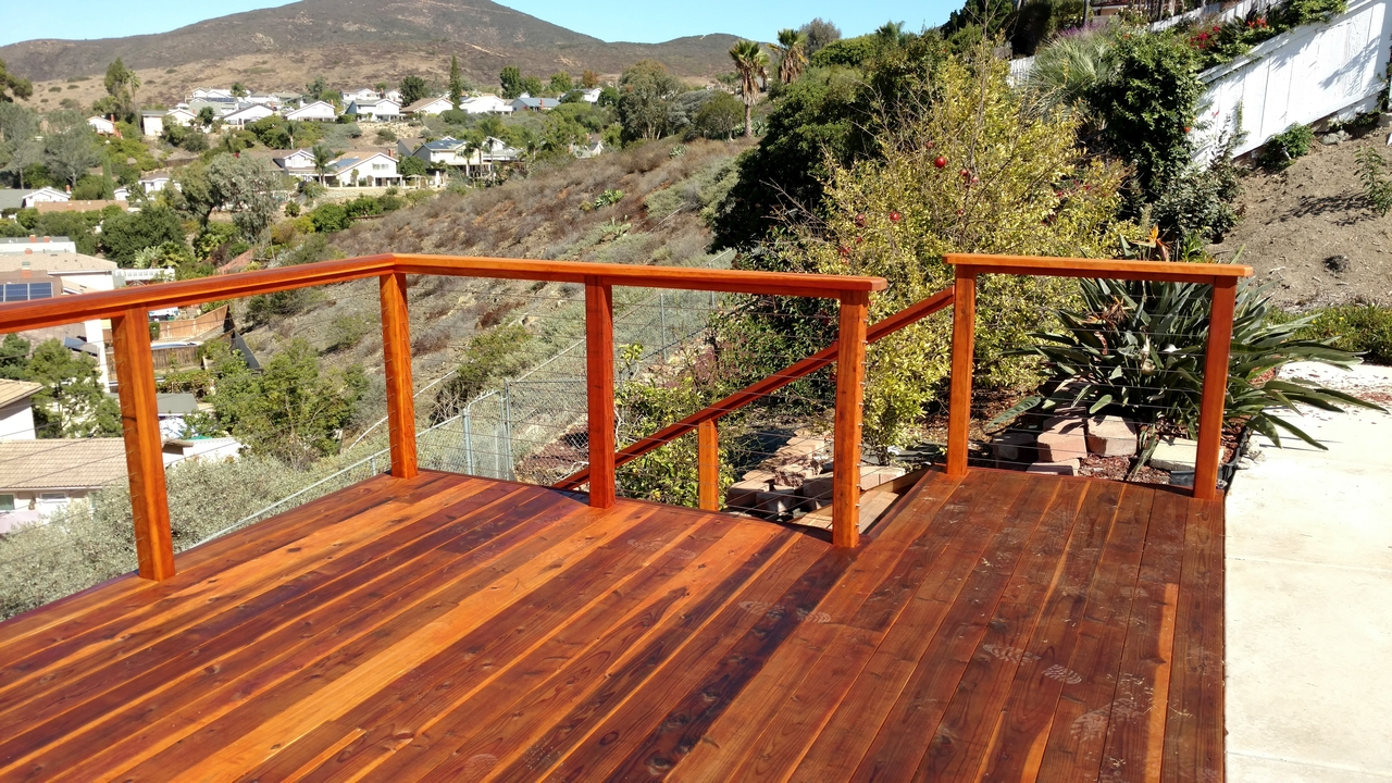 Redwood deck with cable rail san diego decks custom deck redwood deck with cable rail 7 baanklon Image collections