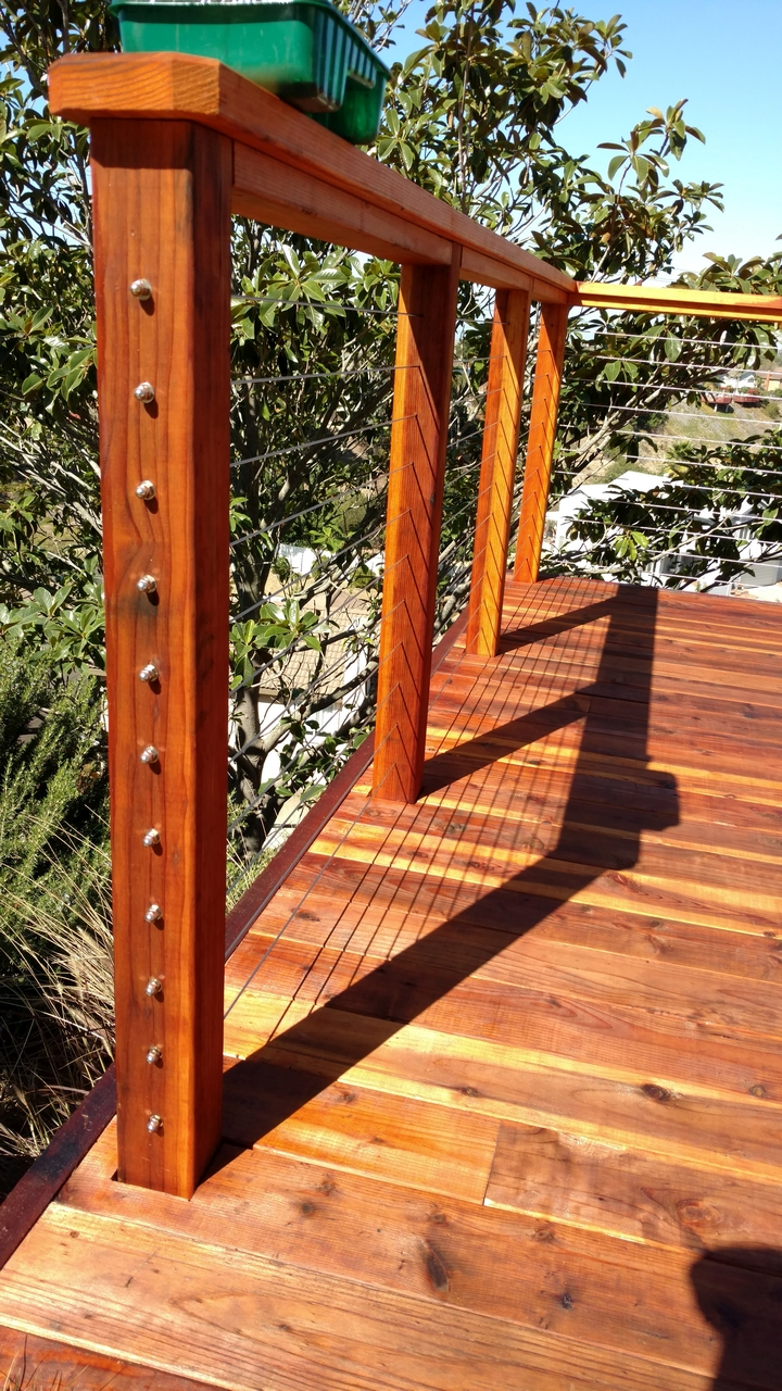 Redwood deck with cable rail 9 san diego decks custom deck redwood deck with cable rail 9 baanklon Image collections